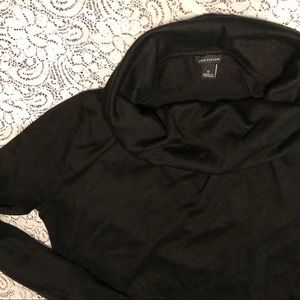 Ann Taylor Black Cowl Turtleneck Tunic Sweater